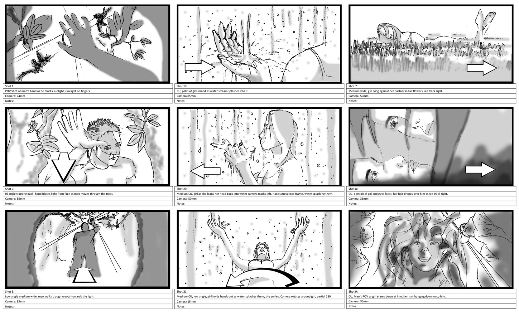 Storyboards sample illustrated by David Ellison capable of storyboarding your production