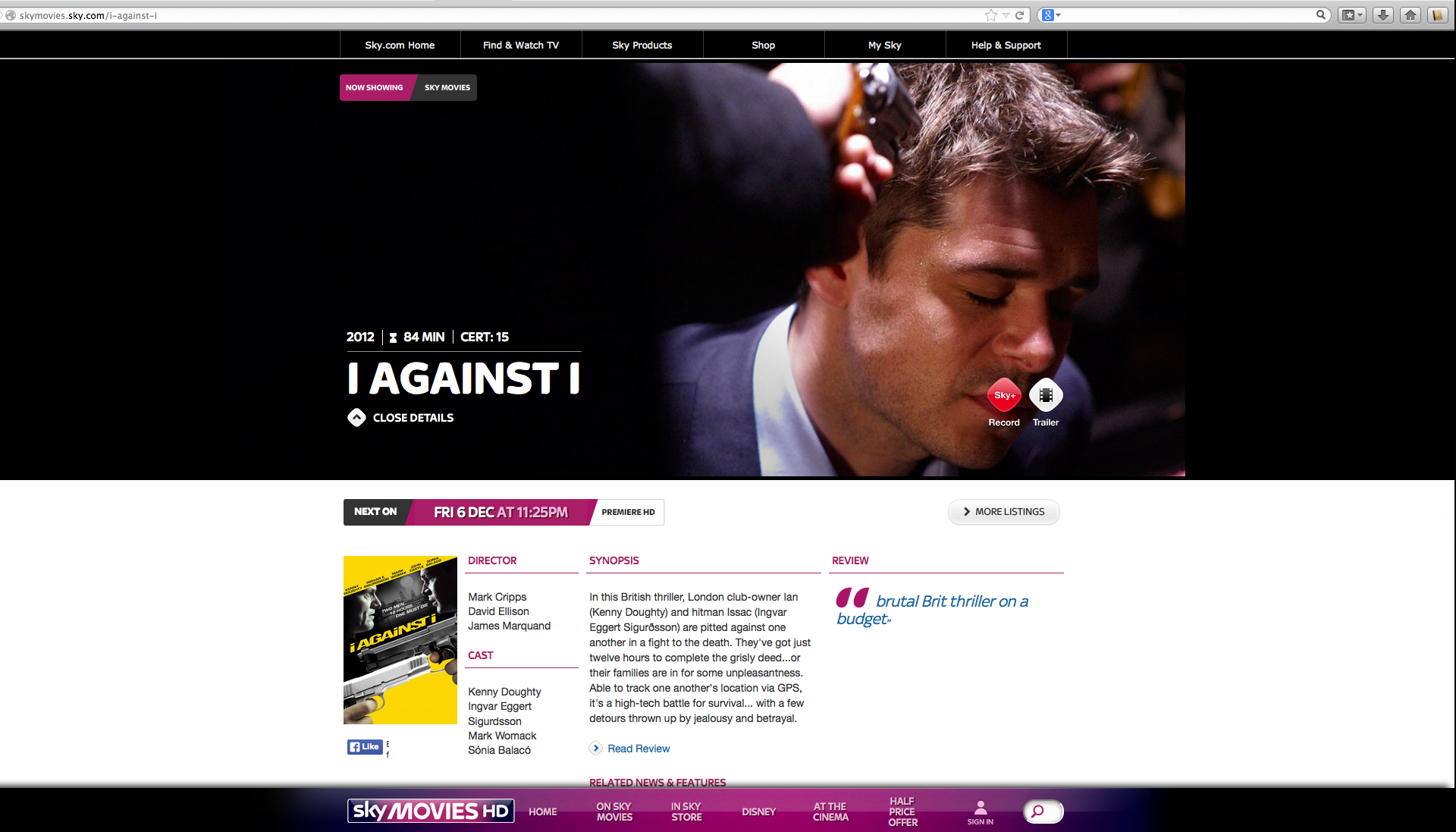Sky Movies Screenshot of I-against-I VOD, feature film directed by filmmaker David Ellison.